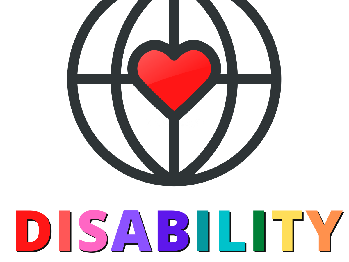 """An outlined globe features intersecting compass-like lines crossing at the centre. A red heart is overlayed on their midpoint. Underneath the globe are the words """"DISABILITY Crosses Borders"""". """"Disability"""" is capitalised and coloured in a rainbow array."""